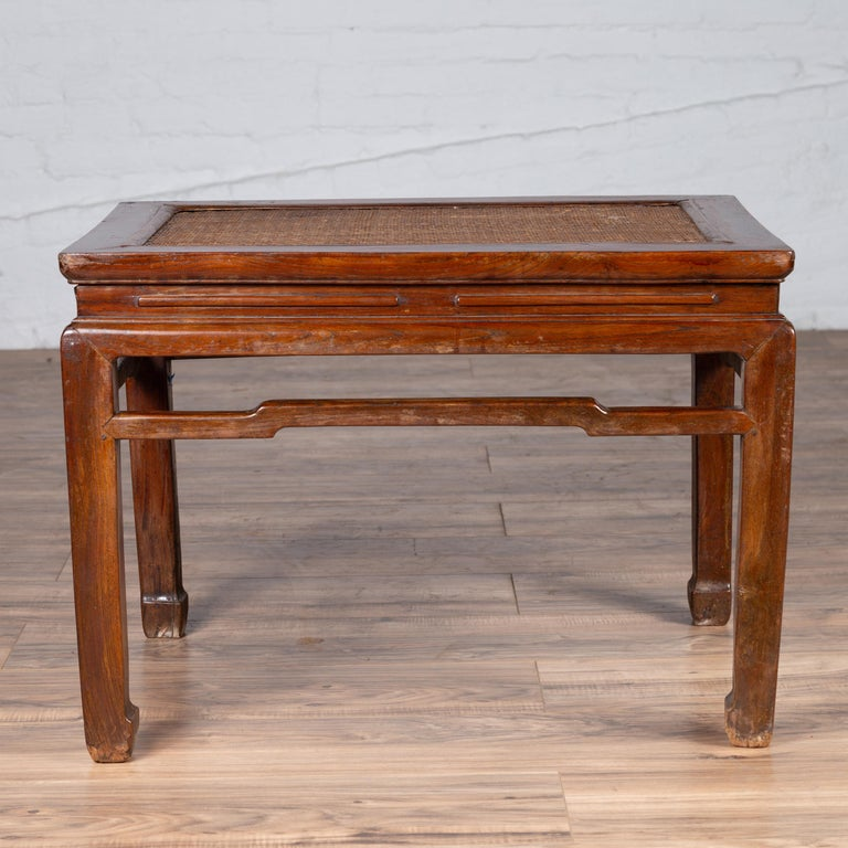 20th Century Antique Chinese Ming Dynasty Style Waisted Side Table with Woven Rattan Top For Sale