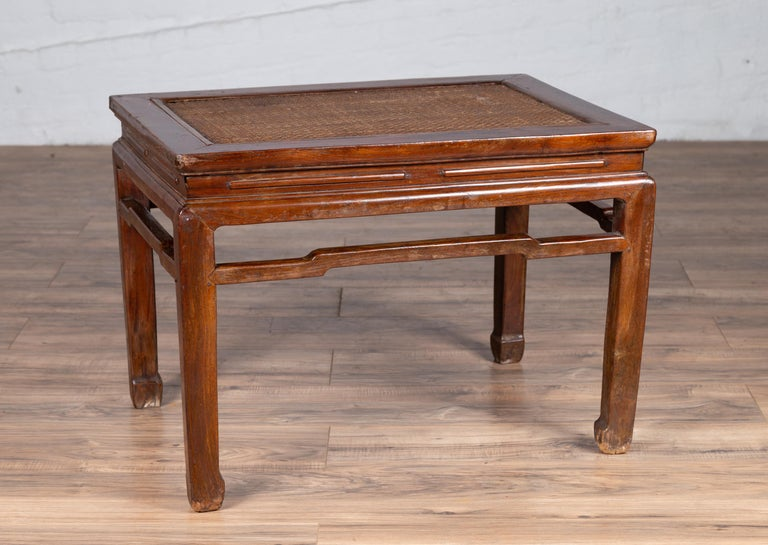 Antique Chinese Ming Dynasty Style Waisted Side Table with Woven Rattan Top For Sale 1