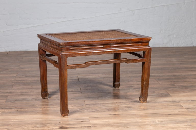 Antique Chinese Ming Dynasty Style Waisted Side Table with Woven Rattan Top For Sale 3