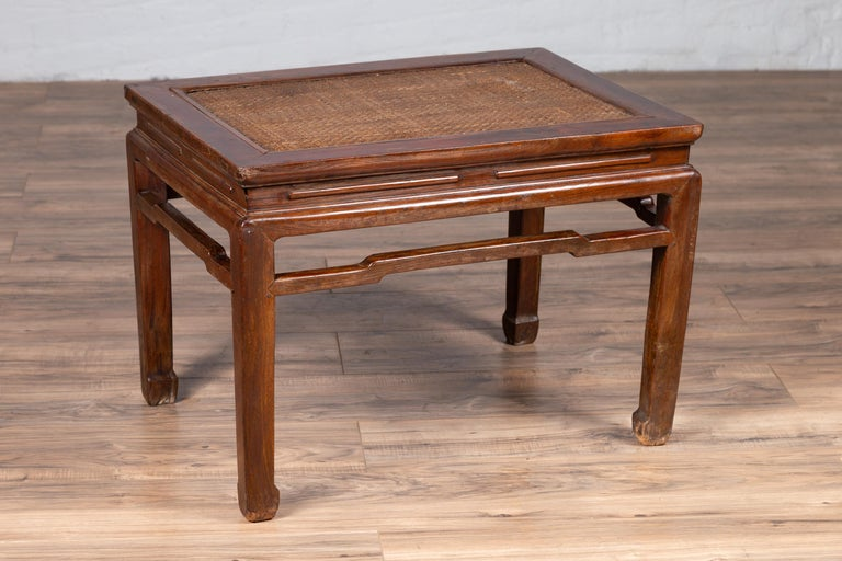 Antique Chinese Ming Dynasty Style Waisted Side Table with Woven Rattan Top For Sale 4