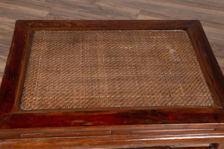 Antique Chinese Ming Dynasty Style Waisted Side Table with Woven Rattan Top For Sale 5