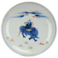 Antique Chinese Ming Enamelled Plate Porcelain Famille Verte Boy Riding Ox