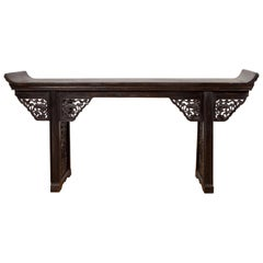 Antique Chinese Ming Style Altar Table with Carved Apron and Black Patina