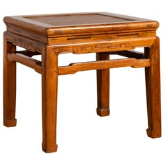 Antique Chinese Ming Style Elmwood Waisted Side Table with Horsehoof Legs