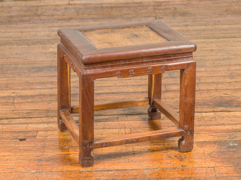 Antique Chinese Ming Style Waisted Stool with Horsehoof Legs and Rattan Inset For Sale 6