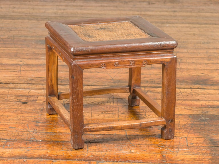 Antique Chinese Ming Style Waisted Stool with Horsehoof Legs and Rattan Inset For Sale 7
