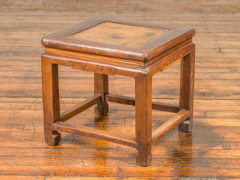 Antique Chinese Ming Style Waisted Stool with Horsehoof Legs and Rattan Inset For Sale 8