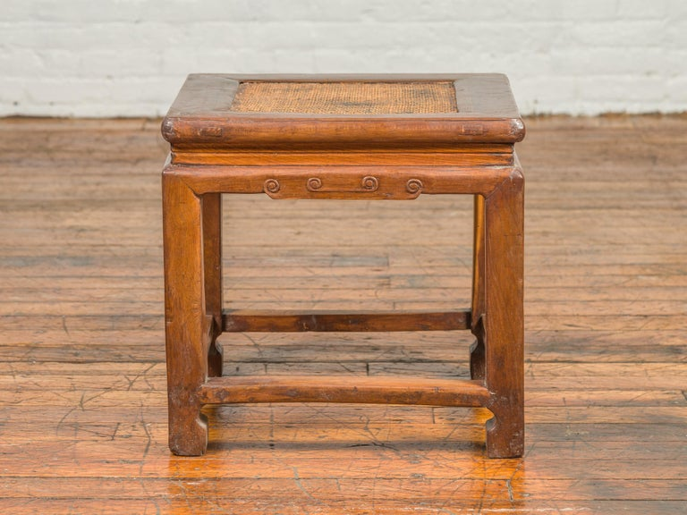 20th Century Antique Chinese Ming Style Waisted Stool with Horsehoof Legs and Rattan Inset For Sale