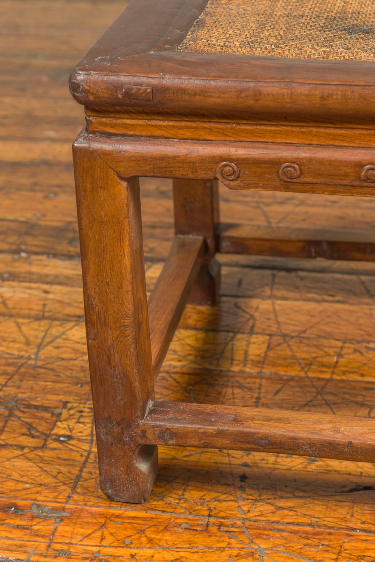 Antique Chinese Ming Style Waisted Stool with Horsehoof Legs and Rattan Inset For Sale 2