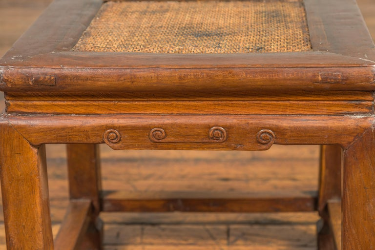 Antique Chinese Ming Style Waisted Stool with Horsehoof Legs and Rattan Inset For Sale 4