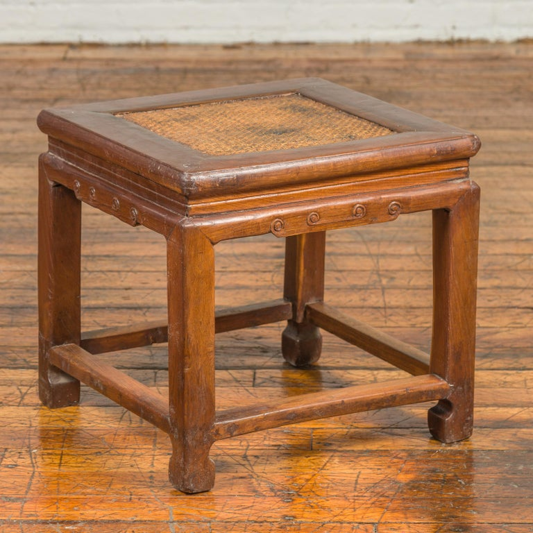 Antique Chinese Ming Style Waisted Stool with Horsehoof Legs and Rattan Inset For Sale 5