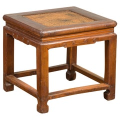 Antique Chinese Ming Style Waisted Stool with Horsehoof Legs and Rattan Inset