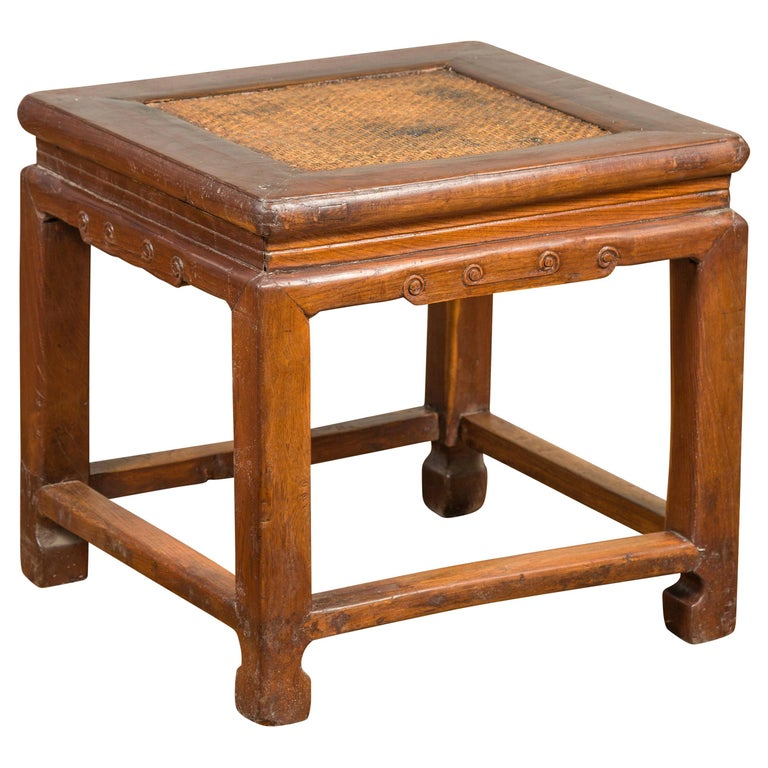 Antique Chinese Ming Style Waisted Stool with Horsehoof Legs and Rattan Inset For Sale