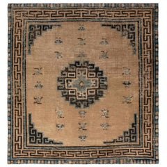 Antique Chinese Mongolian Beige, Dark Brown and Teal Handwoven Wool Rug