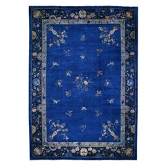 Antique Chinese Nichols Some Wear Birds and Vases Hand Knotted Rug Blue