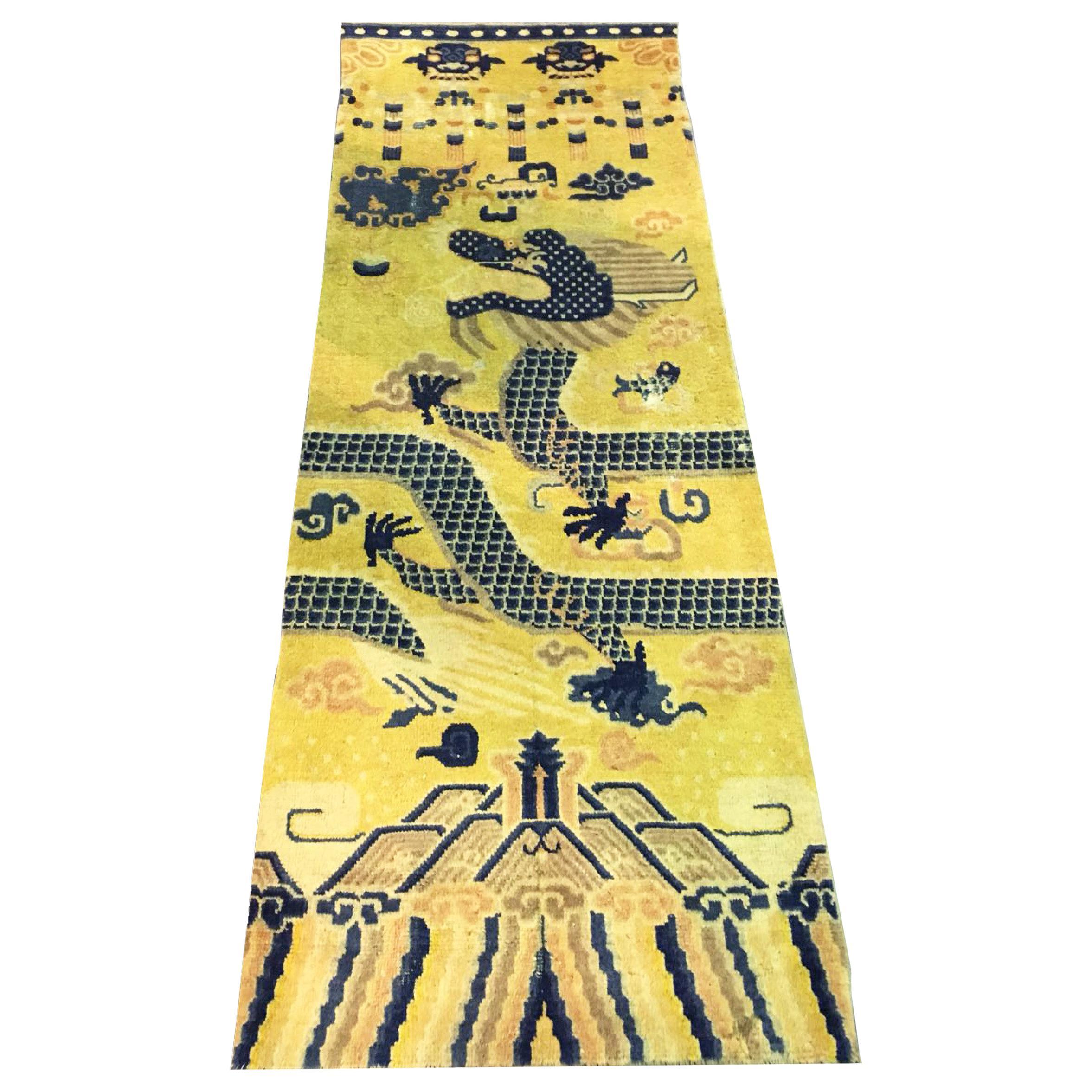 Antique Chinese Ningxia Pillar Carpet