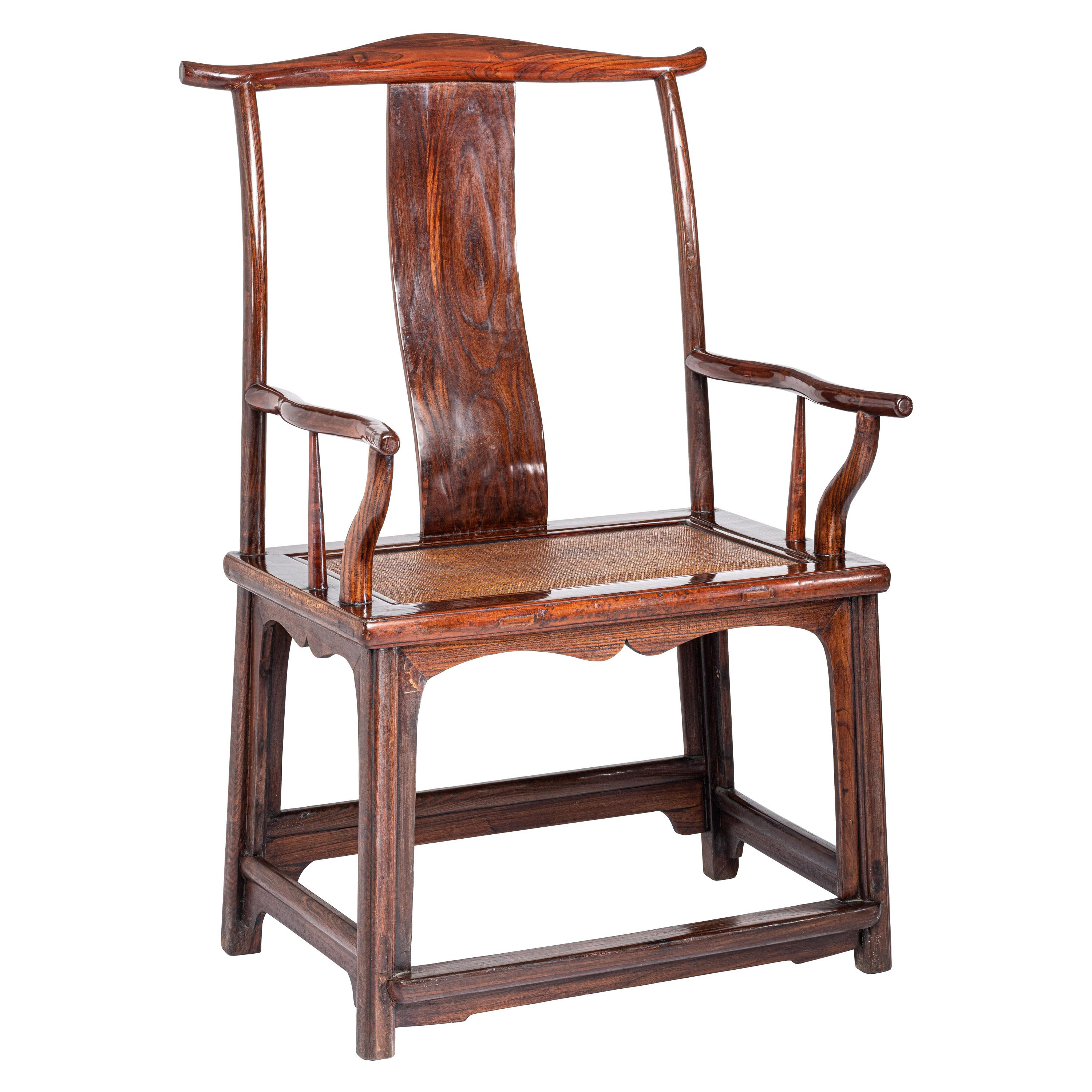 Antique Chinese Official's Hat Armchair with Protruding Yoke Back and Hand Grips