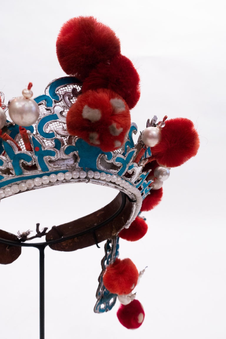 Ming Antique Chinese Opera Theatre Headdress in Turquoise with Red Pom Poms For Sale