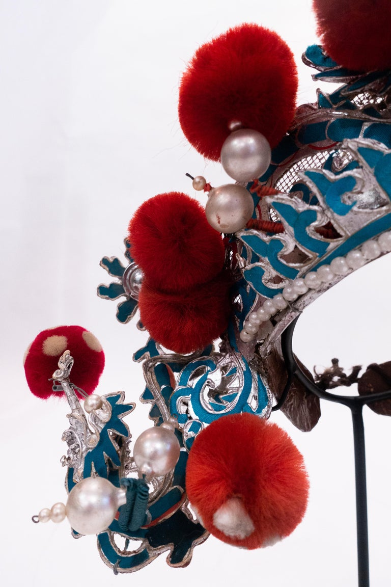 Antique Chinese Opera Theatre Headdress in Turquoise with Red Pom Poms In Good Condition For Sale In New York, NY
