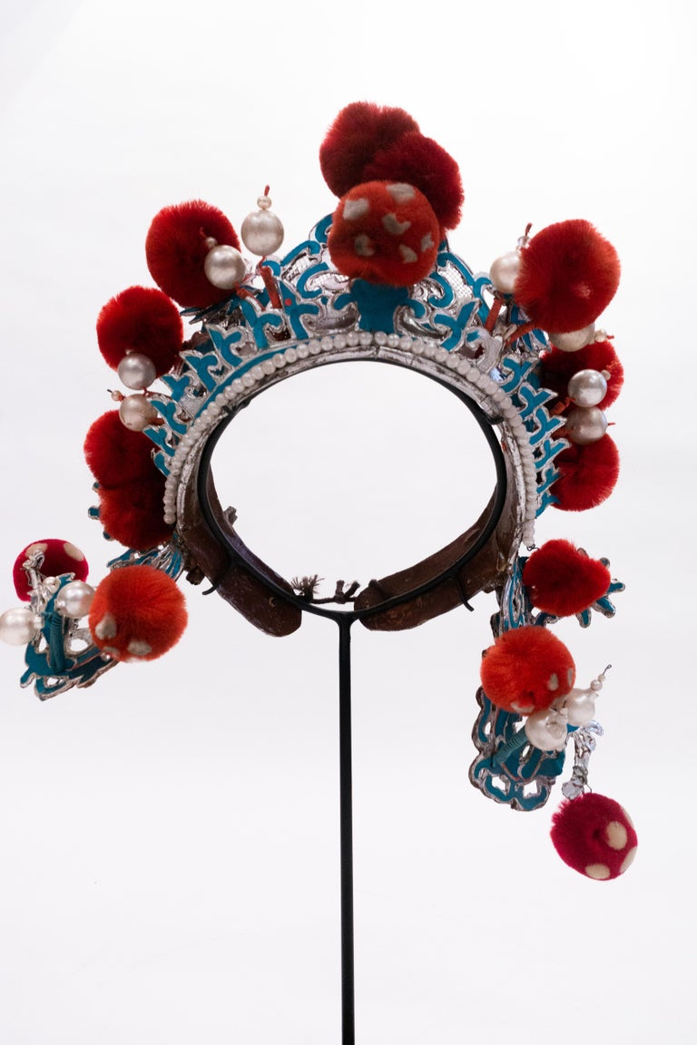 20th Century Antique Chinese Opera Theatre Headdress in Turquoise with Red Pom Poms For Sale