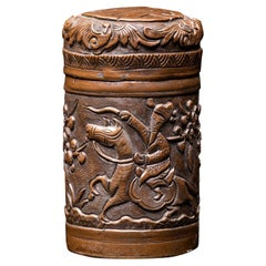 Antique Chinese Opium Box in Hammered Brass, Decorated with a Scene of a Rider