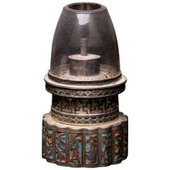 Antique Chinese Opium Lamp with Round Base that is Multi-lobed