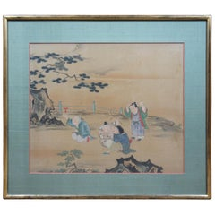 Antique Chinese Painting on Silk Landscape Boys Children Playing Figures