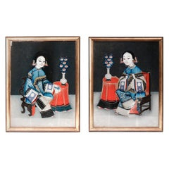 Antique Chinese Pair of Reverse Glass Paintings, 19th Century