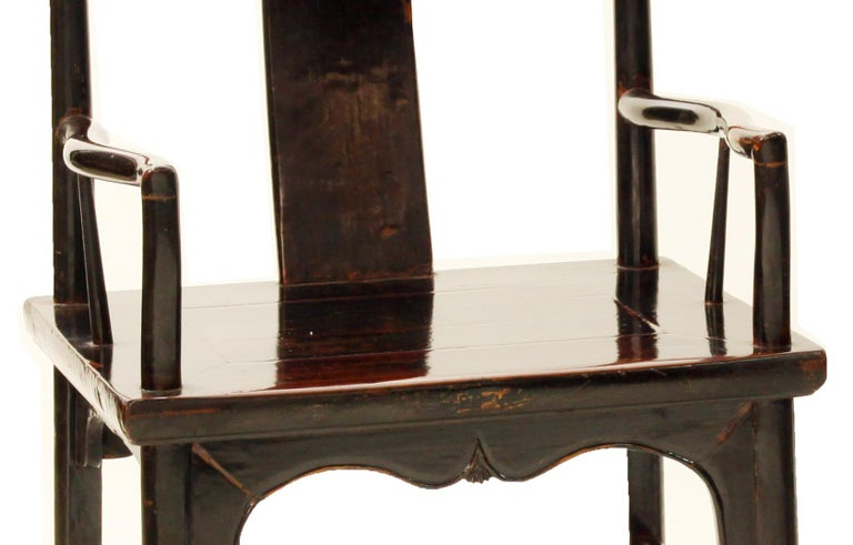 Hand-Crafted Antique Chinese Pair of Walnut Southern Official's Hat Armchairs For Sale