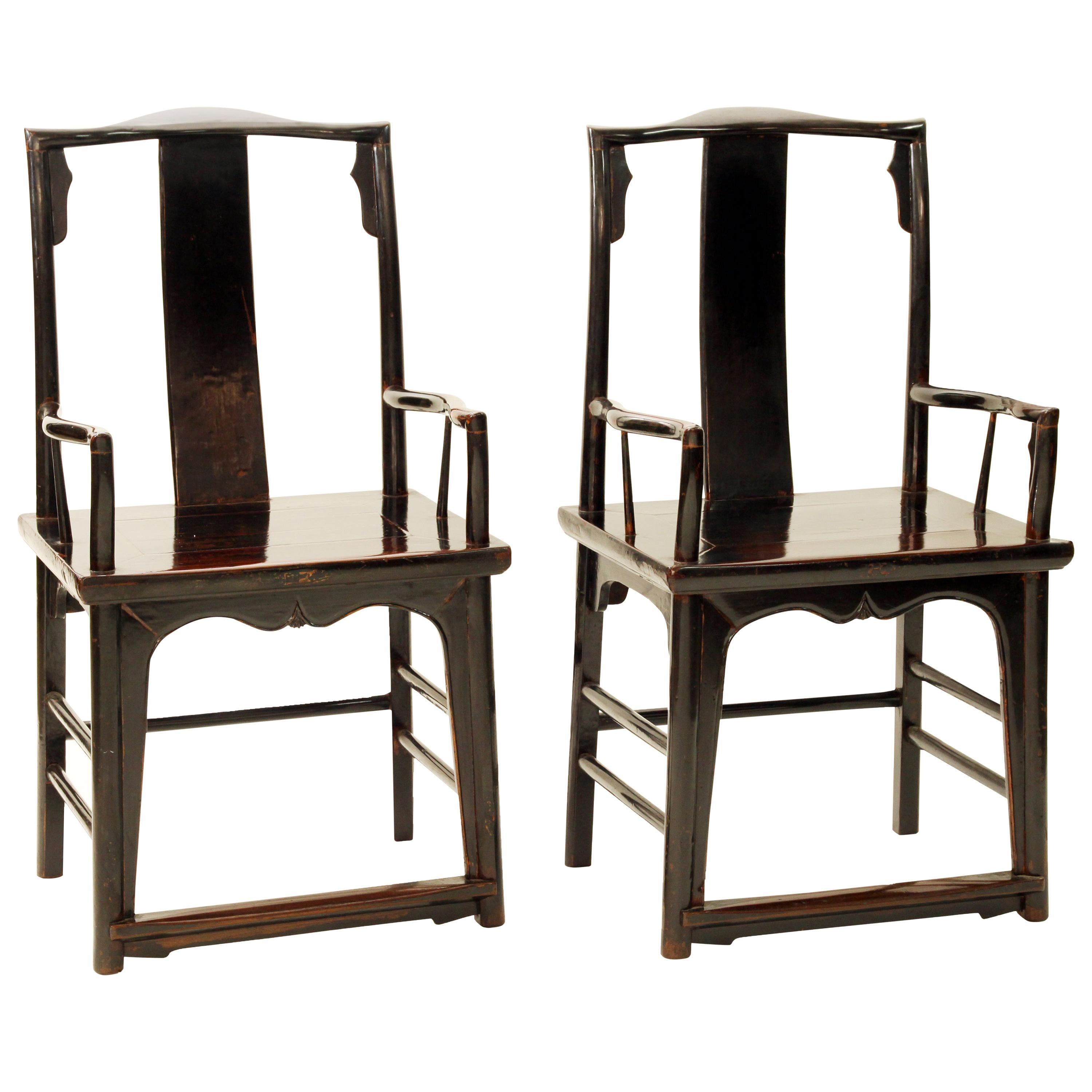 Antique Chinese Pair of Walnut Southern Official's Hat Armchairs