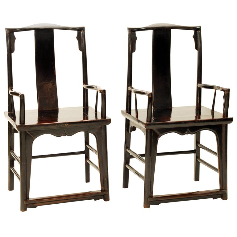 Antique Chinese Pair of Walnut Southern Official's Hat Armchairs For Sale