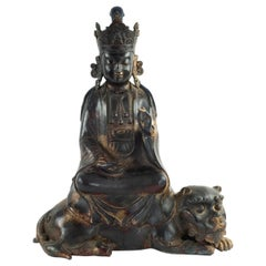 Antique Chinese Parcel Gilt Bronze Quan Yin