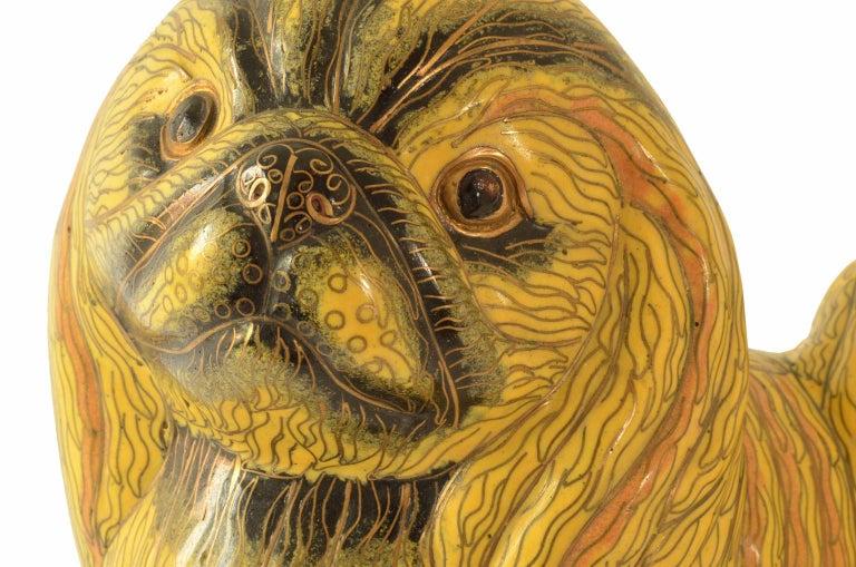 Antique Chinese Pekinese Dog Cloisonné / Enamel Yellow 19th Century, China 10