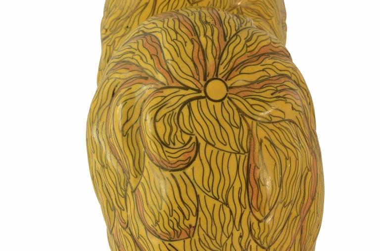 Antique Chinese Pekinese Dog Cloisonné / Enamel Yellow 19th Century, China 11