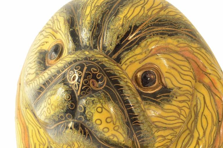 Antique Chinese Pekinese Dog Cloisonné / Enamel Yellow 19th Century, China 2