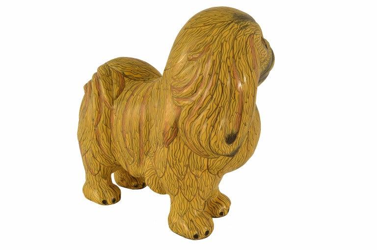 Antique Chinese Pekinese Dog Cloisonné / Enamel Yellow 19th Century, China 4