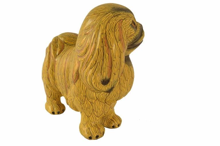 Antique Chinese Pekinese Dog Cloisonné / Enamel Yellow 19th Century, China 5