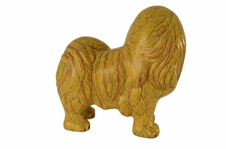 Antique Chinese Pekinese Dog Cloisonné / Enamel Yellow 19th Century, China 6