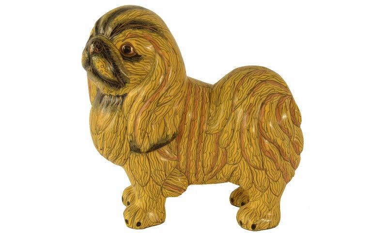 Antique Chinese Pekinese Dog Cloisonné / Enamel Yellow 19th Century, China 7