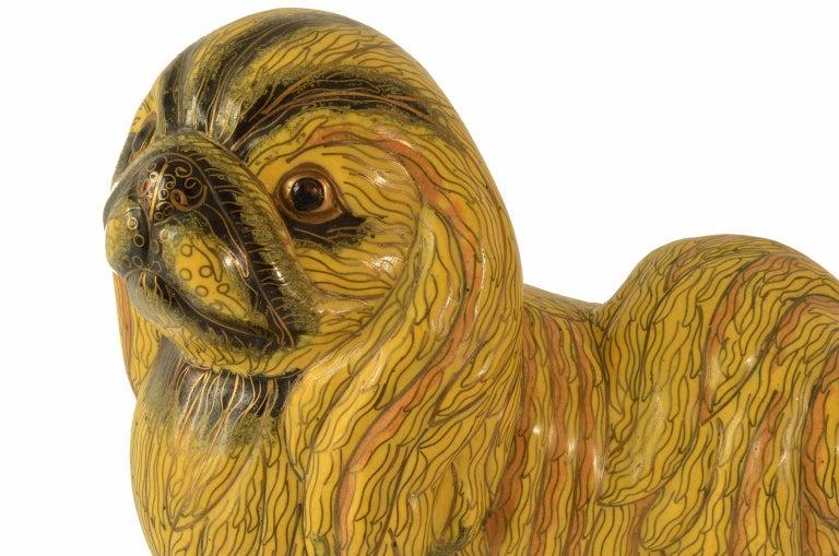 Antique Chinese Pekinese Dog Cloisonné / Enamel Yellow 19th Century, China 8