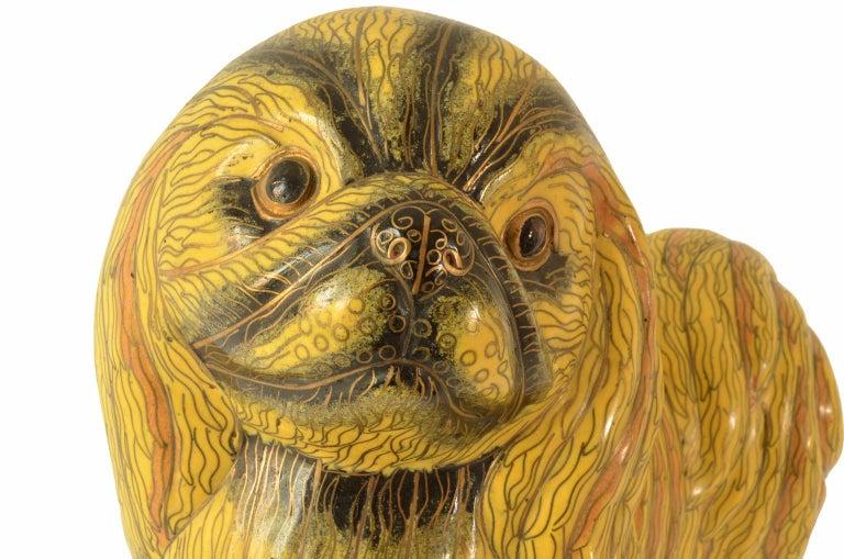 Antique Chinese Pekinese Dog Cloisonné / Enamel Yellow 19th Century, China 9