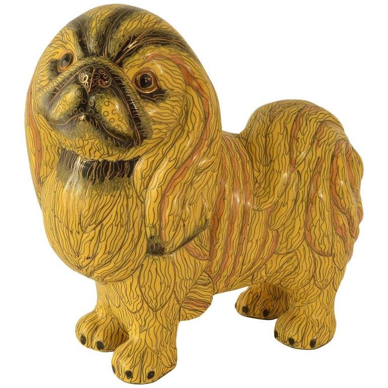 Antique Chinese Pekinese Dog Cloisonné / Enamel Yellow 19th Century, China 1