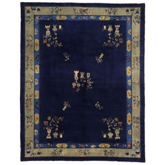 Antique Chinese Peking Area Rug with Traditional Chinoiserie Style