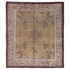 Antique Chinese Peking Art Deco Carpet, Yellow Field, Coral & Gray Accents