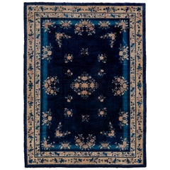 Antique Chinese Peking Carpet, Blue Field
