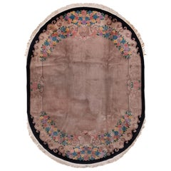 Antique Chinese Peking Fette Oval Carpet