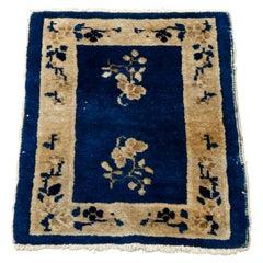 Antique Chinese Peking Floral Oriental Wool Rug Mat, Circa 1920