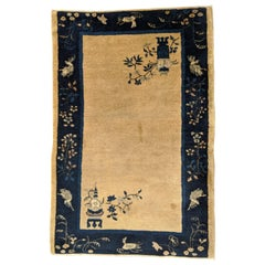 Antique Chinese Peking Oriental Ivory Blue, Silky Wool, Scatter Size, 1910