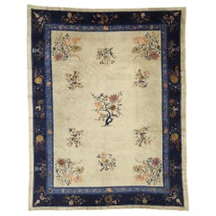 Antique Chinese Peking Rug with Chinoiserie Chic Style