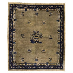Antique Chinese Peking Rug with Chinoiserie Style and Pagoda Design